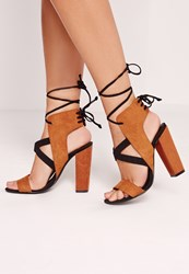 Missguided Cross Strap Lace Back Block Heeled Sandals Brown Brown