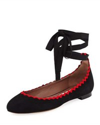 Tabitha Simmons Daria Embroidered Suede Ankle Wrap Flat Black