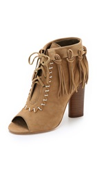 Cynthia Vincent Nailed Fringe Open Toe Booties Tan