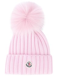 Moncler Ribbed Pompom Beanie Pink