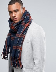 Jack And Jones Scarf In Woven Check Navy