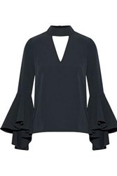 Milly Andrea Fluted Cutout Stretch Cady Top Charcoal