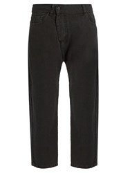Nili Lotan Bias Cotton And Linen Blend Tapered Leg Trousers Black