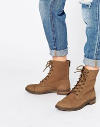 Asos Ancros Leather Lace Up Ankle Boots Tan Leather