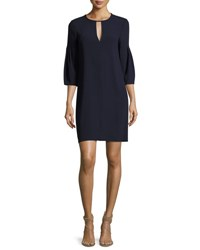 Burberry Keyhole Front Puff Sleeve Dress Navy