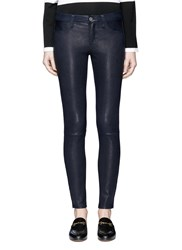 L'agence 'Aurelie' Lambskin Leather Leggings Blue