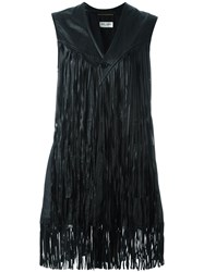 Saint Laurent Fringed Leather Waistcoat Jacket Black