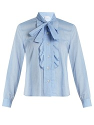 Red Valentino Tie Neck Cotton Voile Shirt Light Blue