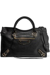 Balenciaga City Glossed Textured Leather Tote Black