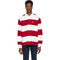 Rag And Bone Red Off White Striped Rugby Polo
