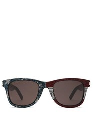 Saint Laurent Crystal Embellished D Frame Acetate Sunglasses Black