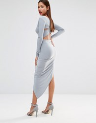 Club L Slinky Cross Back Detail Dress With Asymmetric Skirt Stone Grey
