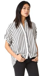 The Great Great. Tie Sleeve Big Shirt Black And White Stripe