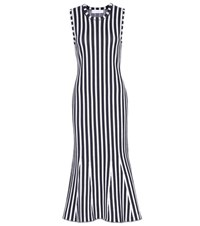 Victoria Beckham Wide Stripe Intarsia Fitted Kick Dress Blue