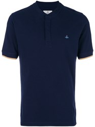 Vivienne Westwood Colarless Polo Shirt Cotton Blue