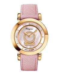 Salvatore Ferragamo 37Mm Minuetto Watch W Diamonds And Leather Strap Pink