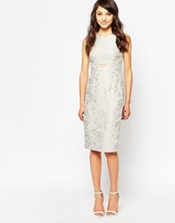 Traffic People Peekaboo Dress In Damask Jacquard Grey