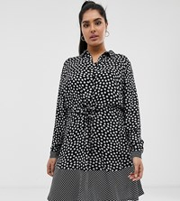 Junarose Mixed Spot Button Through Dress Black