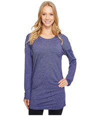Lucy Manifest Long Sleeve Tunic Pure Indigo Micro Stripe Women's Long Sleeve Pullover Blue