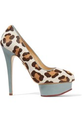 Charlotte Olympia Polly Leather Trimmed Leopard Print Calf Hair Pumps Leopard Print
