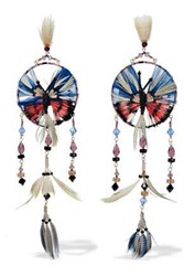 Valentino Gold Tone Feather Bead And Crystal Earrings Multicolor