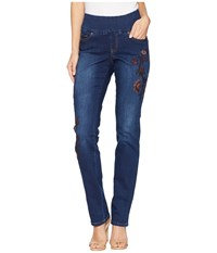 Jag Jeans Peri Straight Pull On W Embroidery In Flatiron Flatiron Blue