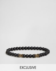 Seven London Fleur De Lys Beaded Bracelet In Black Exclusive To Asos Black