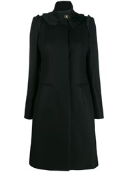 Just Cavalli Fitted Coat With Frill Trim Black