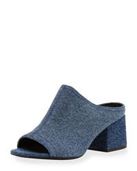 3.1 Phillip Lim Cube Denim Block Heel Mule Sandal Light Denim