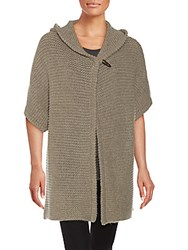 Saks Fifth Avenue Hooded Cashmere Cape Stone Heather