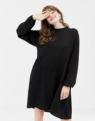 Monki High Neck Smock Dress In Black