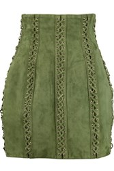 Balmain Lace Up Suede Mini Skirt Army Green