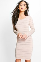 Boohoo Ribbed Long Sleeve Bodycon Knit Dress Beige