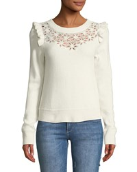 Rebecca Taylor Emilie Floral Embroidered Pullover Sweater Beige