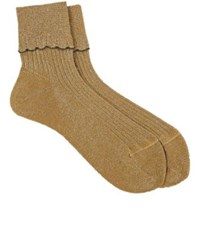 Antipast Women's Scalloped Mid Calf Socks Gold