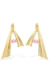 Attico Pink Crystal And Bronze Knot Earrings Gold