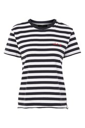 Topshop Petite 'What If' Stripe T Shirt Navy Blue