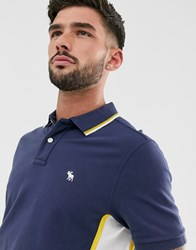 Abercrombie And Fitch Modern Side Logo Panel Tipped Pique Polo In Navy