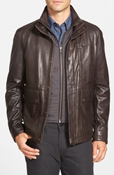 Boss 'Morano' 3 In 1 Leather Jacket With Waistcoat Liner Dark Brown