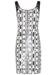 Gina Bacconi Monochrome Sequin Dress Black White