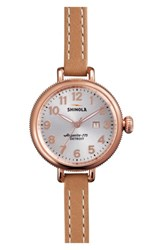 Shinola Women's The Birdy Leather Strap Watch 34Mm Natural Silver Rose Gold