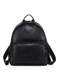 Giorgio Armani Solid Leather Backpack Black