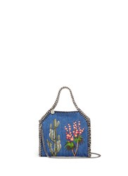 Stella Mccartney 'Falabella' Mini Embroidered Eco Denim Two Way Chain Tote Blue