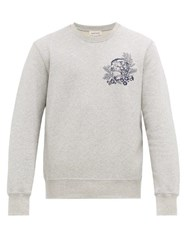 Alexander Mcqueen Skull Embroidered Cotton Jersey Sweatshirt Light Grey