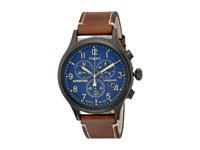Timex Expedition Acadia Leather Strap Brown Gray Blue Watches
