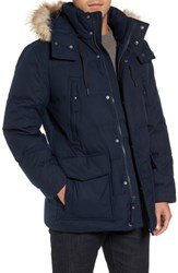 Marc New York Men's Tech Herringbone Down Parka With Genuine Coyote Fur Trim Ink