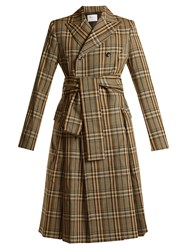 Toga Peak Lapel Double Breasted Checked Trench Coat Brown Multi