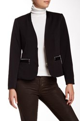 Insight Faux Leather Trim Blazer Black