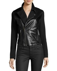 Lamade Knit Sleeve Leather Jacket Black
