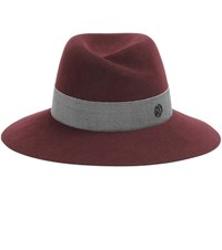 Maison Michel Virginie Rabbit Felt Fedora Red